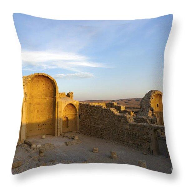 Ruins of Shivta Byzantine Church Throw Pillow by Nir Ben-Yosef