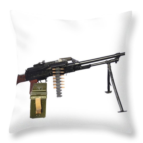 Russian Pkm General-purpose Machine Gun Throw Pillow by Andrew Chittock