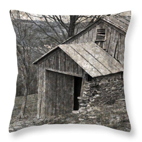 Rustic Hillside Barn Closeup Throw Pillow by John Stephens