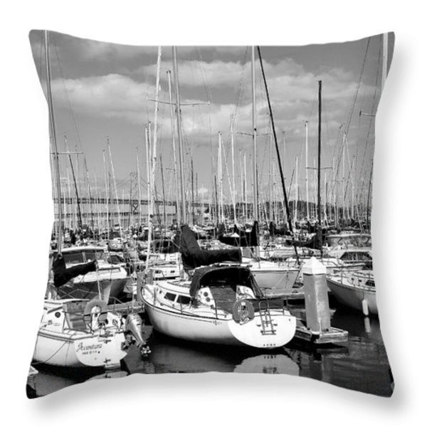 Sail Boats at San Francisco China Basin Pier 42 With The Bay Bridge in The Background . 7D7666 Throw Pillow by Wingsdomain Art and Photography