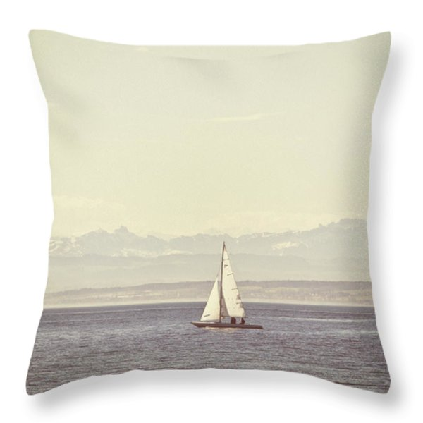 Sailing Boat Throw Pillow by Joana Kruse