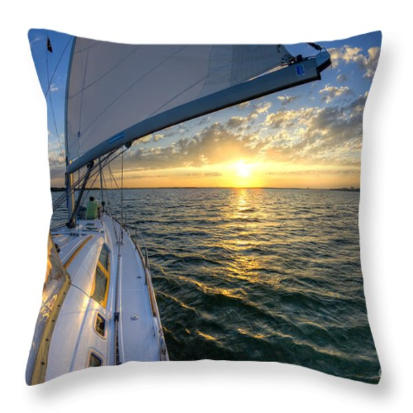 Sailing Sunset Charleston Sc Beneteau 49 Throw Pillow by Dustin K Ryan