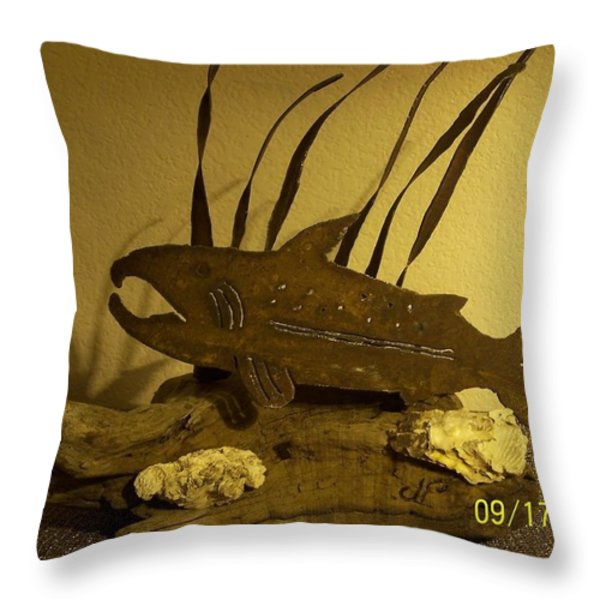 Salmon on Driftwood Throw Pillow by JP Giarde