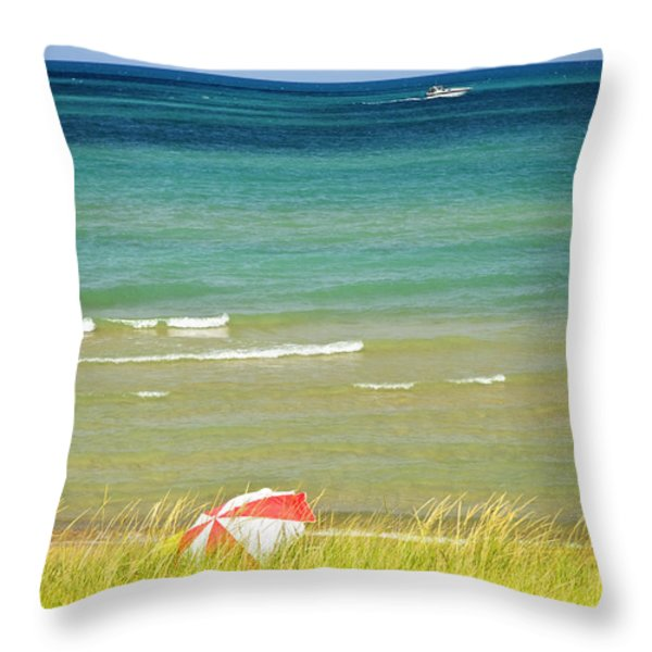 Sand Dunes At Beach Throw Pillow by Elena Elisseeva