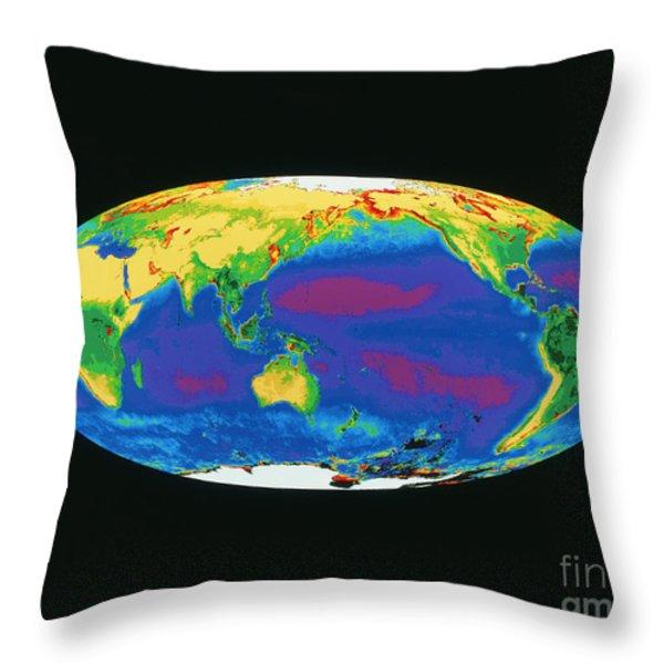 Satellite Image Of The Earths Biosphere Throw Pillow by Dr. Gene Feldman, NASA Goddard Space Flight Center