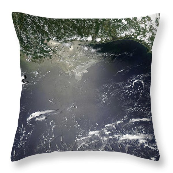 Satellite View Of Oil Leaking Throw Pillow by Stocktrek Images