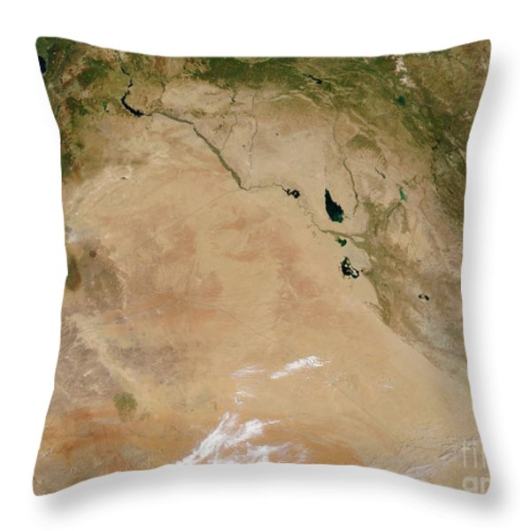 Satellite View Of The Middle East Throw Pillow by Stocktrek Images