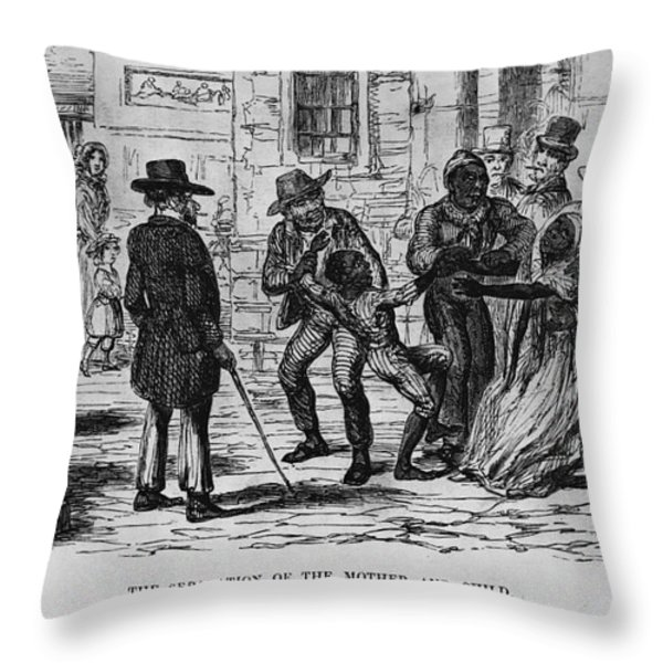 Scene From Uncle Toms Cabin Throw Pillow by Photo Researchers