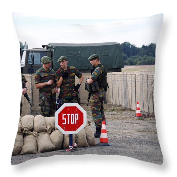 Scenery Of A Checkpoint Used Throw Pillow by Luc De Jaeger
