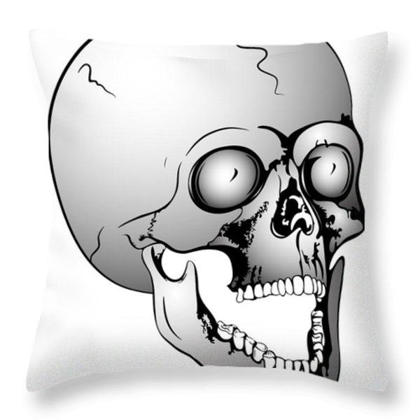 screaming skull Throw Pillow by Michal Boubin