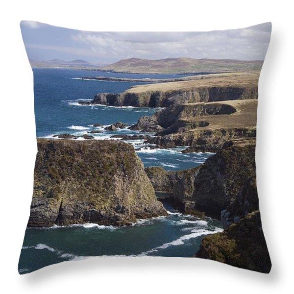 Sea Cliffs And Coastline Near Erris Throw Pillow by Gareth McCormack