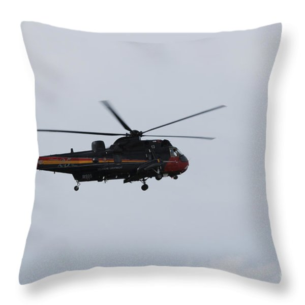 Sea King Helicopter Of The Belgian Army Throw Pillow by Luc De Jaeger