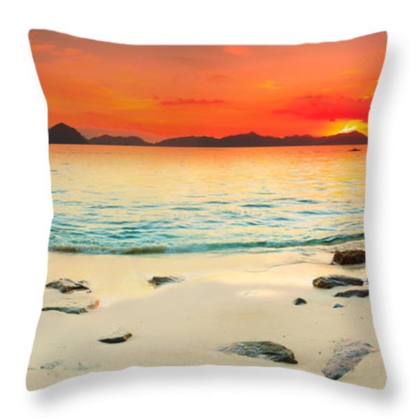 Seascape Panorama Throw Pillow by MotHaiBaPhoto Prints