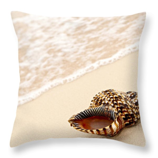 Seashell And Ocean Wave Throw Pillow by Elena Elisseeva