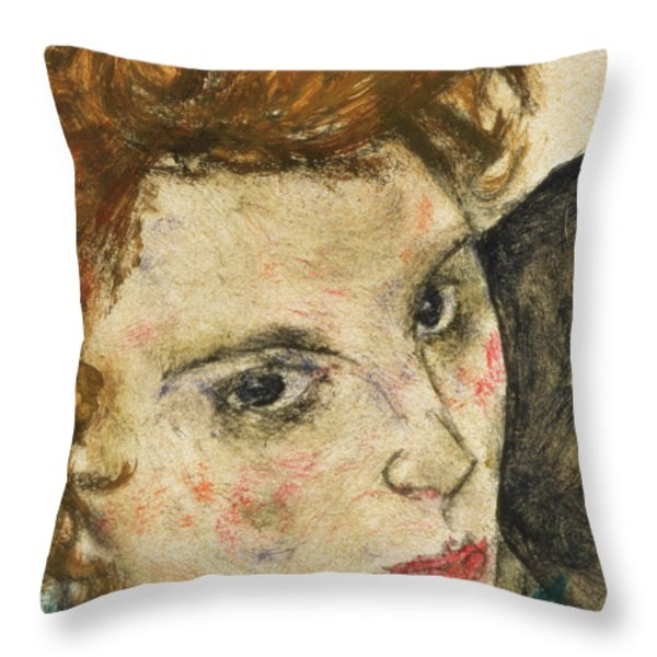 Seated Woman With Bent Knee Throw Pillow by Egon Schiele
