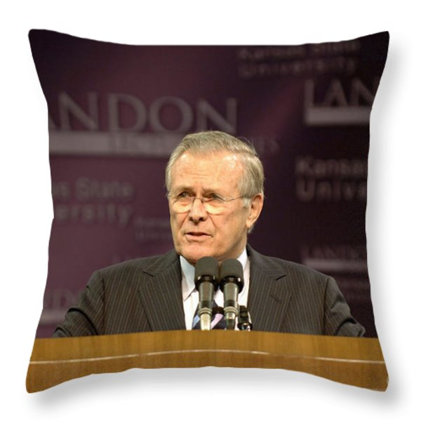 Secretary Of Defense Donald H. Rumsfeld Throw Pillow by Stocktrek Images