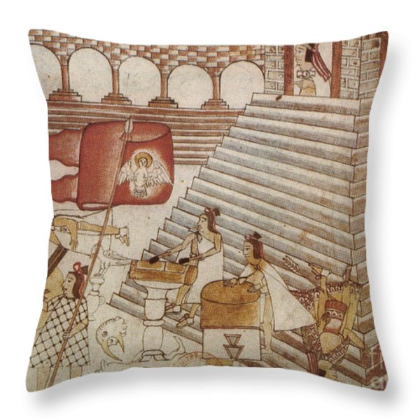 Siege Of Tenochtitlan 1521 Throw Pillow by Photo Researchers