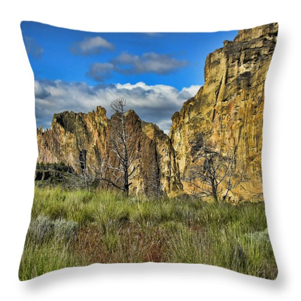 Smith Rock Throw Pillow by Bonnie Bruno