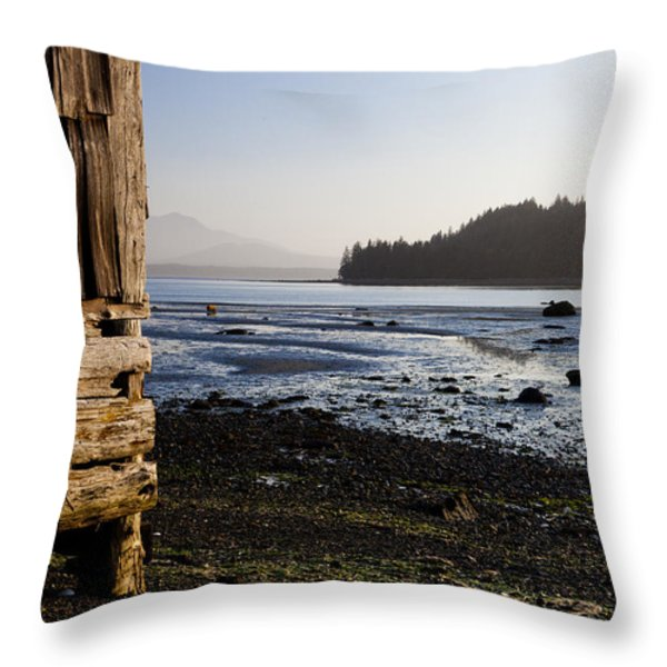 Sointula With The Mountains Throw Pillow by Taylor S. Kennedy