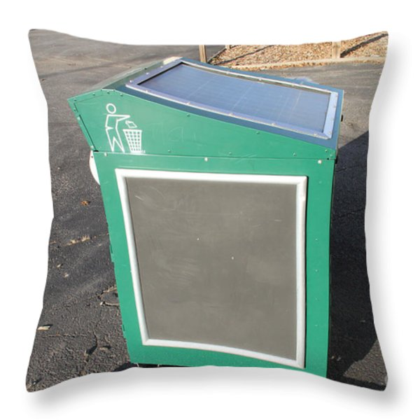 Solar Powered Trash Compactor Throw Pillow by Photo Researchers, Inc.