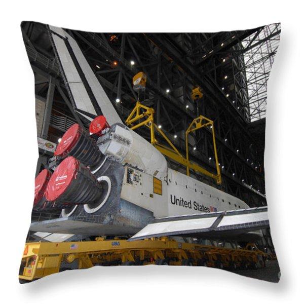 Space Shuttle Atlantis Rolls Throw Pillow by Stocktrek Images
