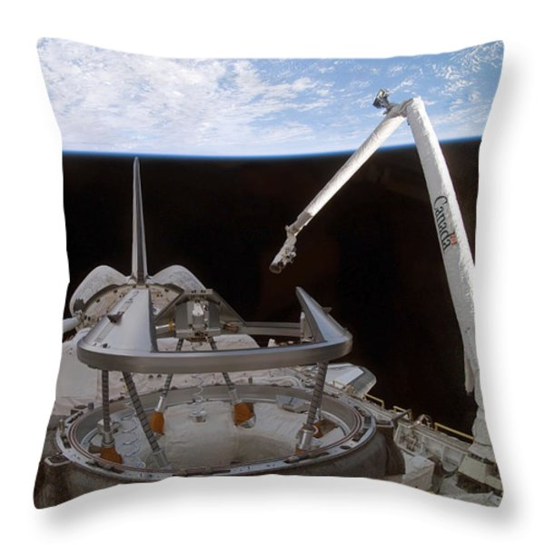 Space Shuttle Discoverys Payload Bay Throw Pillow by Stocktrek Images