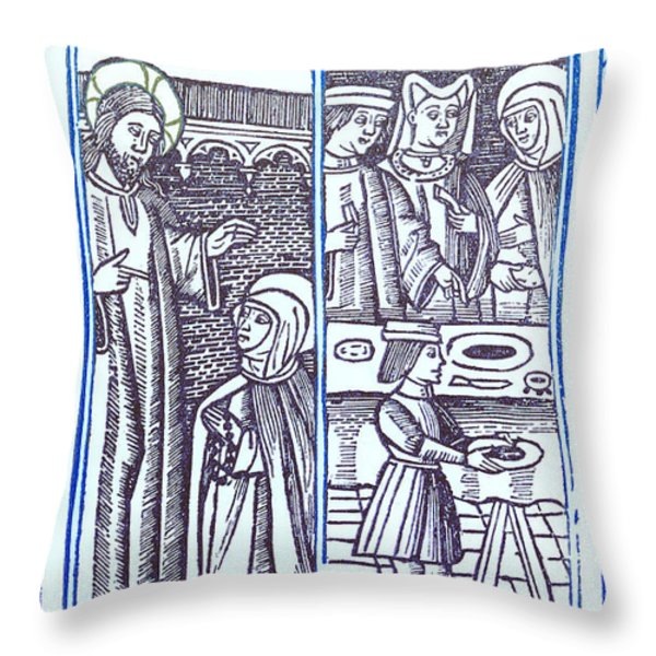St. Catherine, Italian Philosopher Throw Pillow by Photo Researchers