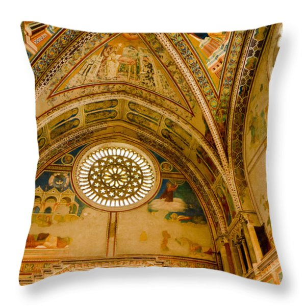St Francis Basilica   Assisi Italy Throw Pillow by Jon Berghoff