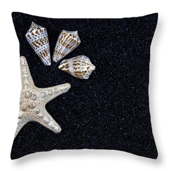 Starfish On Black Sand Throw Pillow by Joana Kruse
