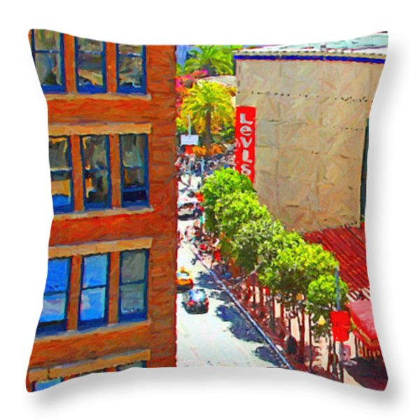 Stockton Street San Francisco . View Towards Union Square Throw Pillow by Wingsdomain Art and Photography