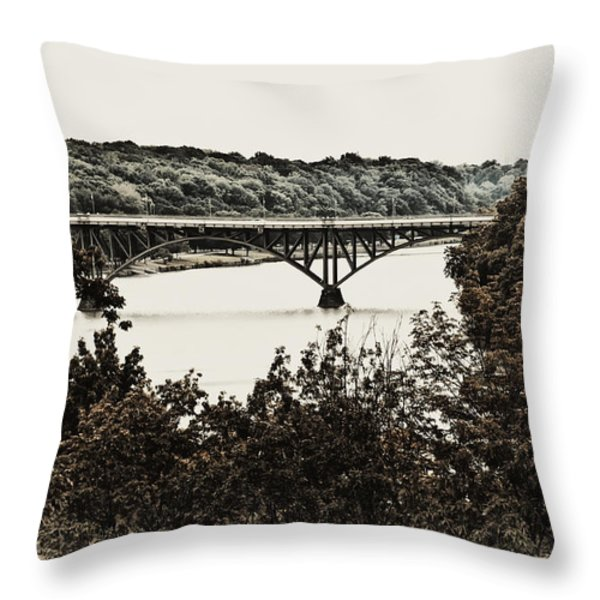 Strawberry Mansion Bridge From Laurel Hill Throw Pillow by Bill Cannon
