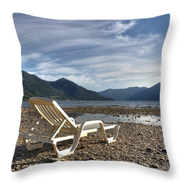 Sun Chair On Lake Maggiore Throw Pillow by Joana Kruse