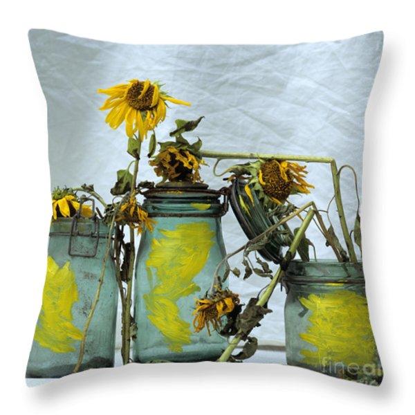 Sunflowers .Helianthus annuus Throw Pillow by BERNARD JAUBERT