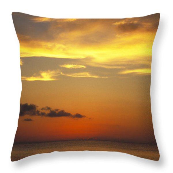 Sunset On Horizon Of Caribbean Sky Throw Pillow by James Forte