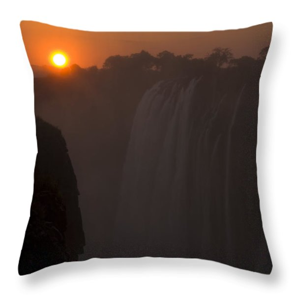 Sunset Over Cascading Victoria Falls Throw Pillow by Ralph Lee Hopkins