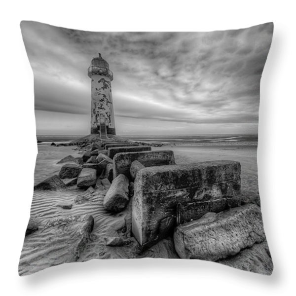 Talacre Lighthouse Throw Pillow by Adrian Evans