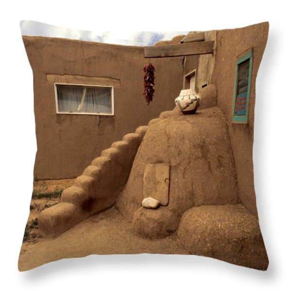 Taos Pueblo Throw Pillow by Jerry McElroy
