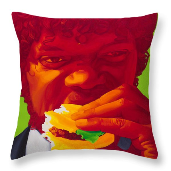 Tasty Burger Throw Pillow by Ellen Patton