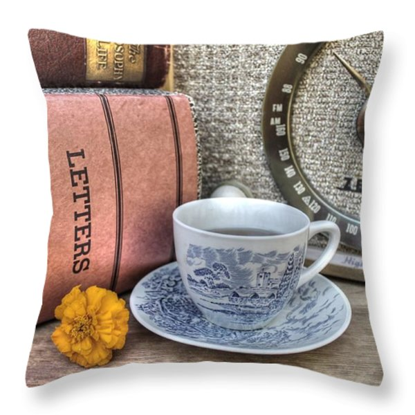 Tea Time Throw Pillow by Jane Linders