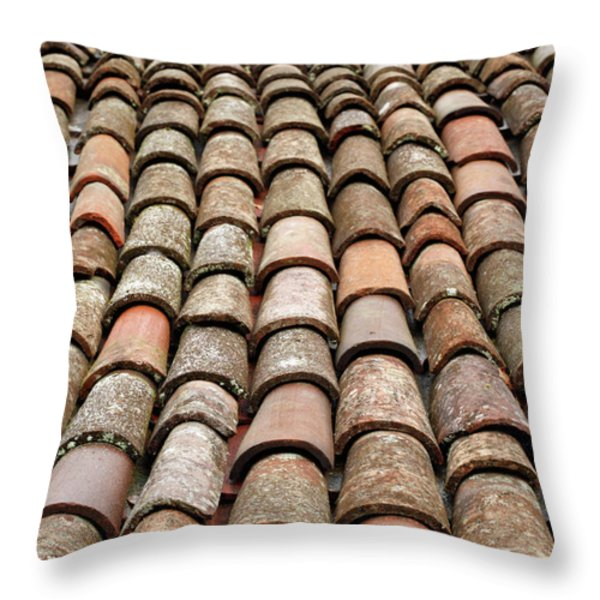 Terra Cotta Roof Tiles Throw Pillow by Gaspar Avila