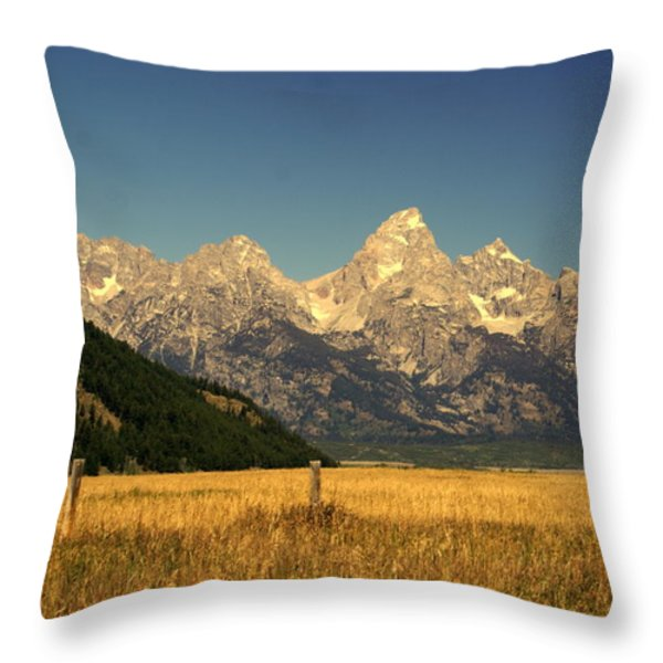 Tetons 3 Throw Pillow by Marty Koch
