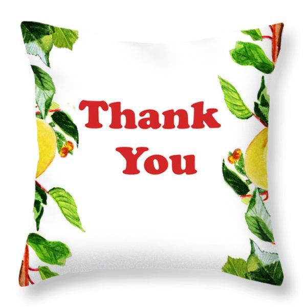 Thank You Card   Throw Pillow by Irina Sztukowski