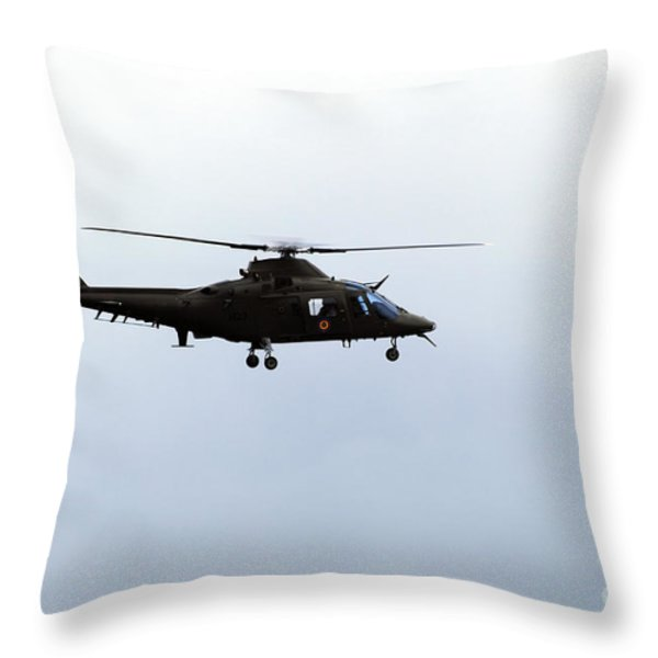 The Agusta A-109 Helicopter Throw Pillow by Luc De Jaeger