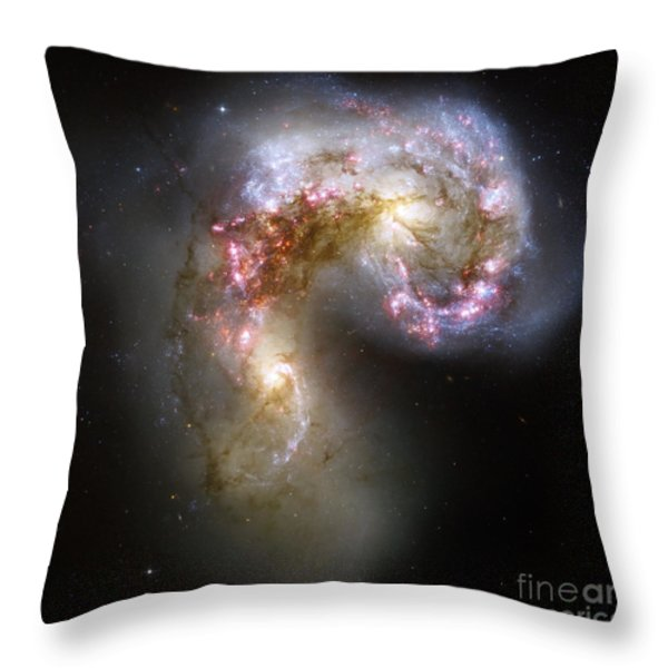 The Antennae Galaxies Throw Pillow by Stocktrek Images