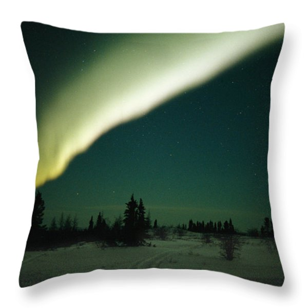 The Aurora Borealis Glows Brightly Throw Pillow by Norbert Rosing