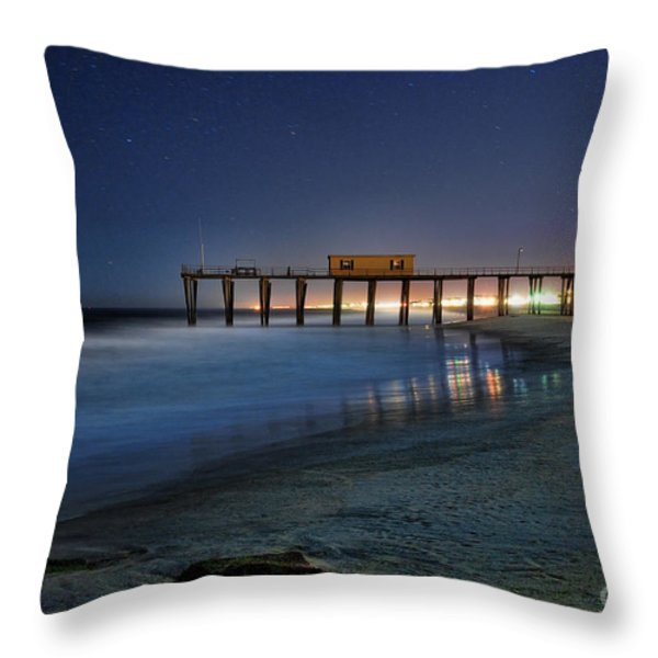 The Fishing Pier Throw Pillow by Paul Ward