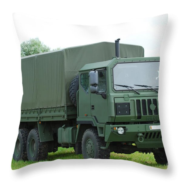 The Iveco M250 8 Ton Truck Throw Pillow by Luc De Jaeger