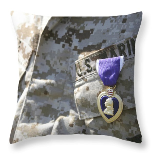 The Purple Heart Award Hangs Throw Pillow by Stocktrek Images