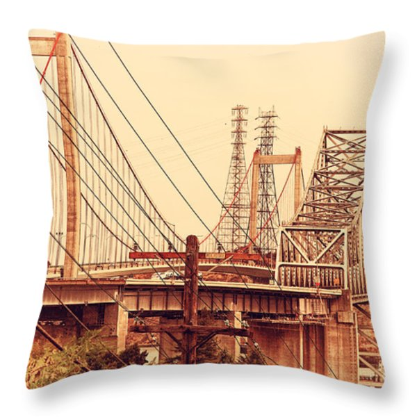 The Two Carquinez Bridges At Crockett And Vallejo California . Aka Alfred Zampa Memorial Bridge . 7d8919 Throw Pillow by Wingsdomain Art and Photography