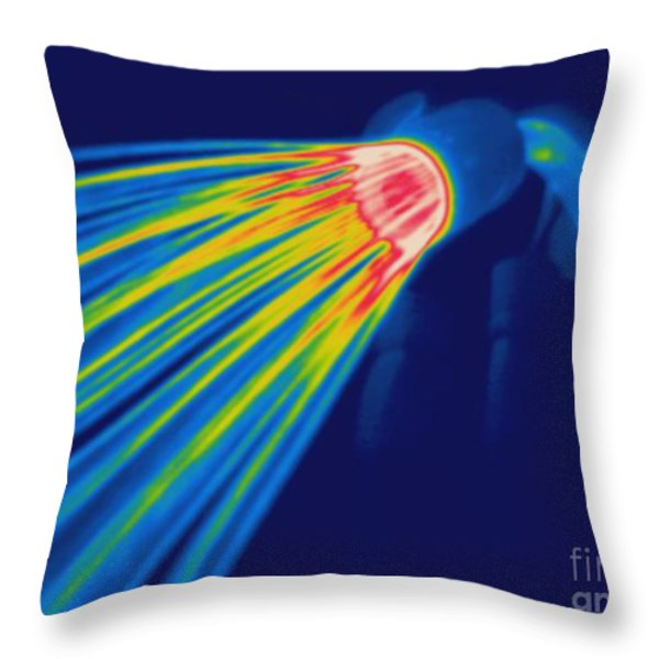 Thermogram Of A Shower Head Throw Pillow by Ted Kinsman